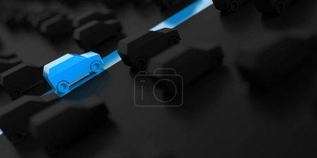 schwarz blaue Rennwagen Modelle, 3D Rendering