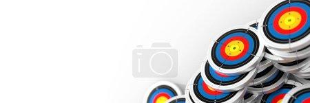 3D colorful dartboards circles icons, goal concept