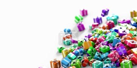 Photo pour Coffrets-cadeaux lumineux coloré brillant avec rubans isolés sur blanc - image libre de droit