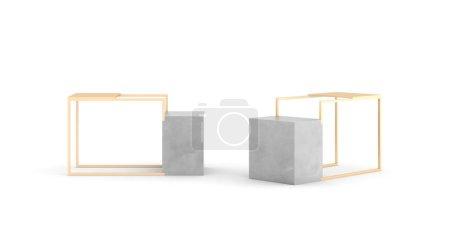 Photo pour Affichage de luxe vierge en acier plaqué or et marbre de Carrare ; 3d rendent le design original, isolé sur blanc - image libre de droit
