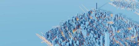 Foto de Modelo de edificios futuristas de la ciudad, representación 3d - Imagen libre de derechos