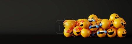 Photo pour Emoticônes 3d rendu arrière-plan, médias sociaux et concept de communication - image libre de droit