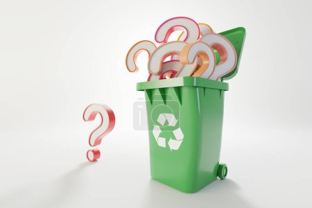 Photo for Plastic waste and recycle problem concept, original 3d rendering - Royalty Free Image