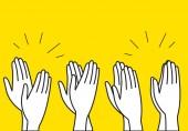 Crowd cheering people clap their hands