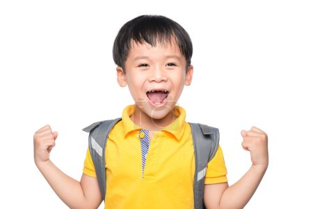 Young asian boy smile gesture hands ready to school