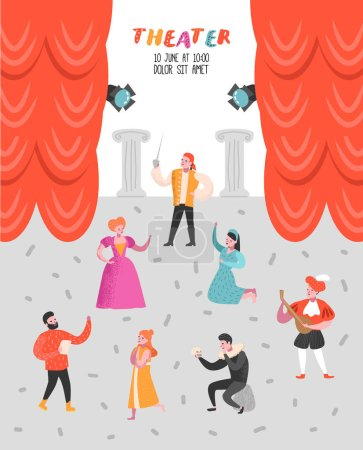 Illustration for Theater Actor Characters Set. Flat People Theatrical Stage Poster. Artistic Perfomances Man and Woman. Vector illustration - Royalty Free Image