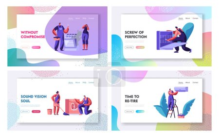 Illustration for Husband for an Hour, Repair Service Website Landing Page Set. Men in Uniform Fixing Broken Technics at Home. Electrician, Plumber Call Master at Work Web Page. Cartoon Flat Vector Illustration, Banner - Royalty Free Image