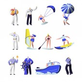 Summer Time Extreme Sports and Sea Professions Set Ship Crew Uniform Captain Sailors Surfing Sup Board Paragliding Motor Boat Riding Sailing Vacation Leisure Cartoon Flat Vector Illustration