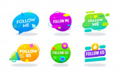Follow Me and Follow Us Banners Set Social Media Networks Logo in Colorful Memphis Style with Typography Button Counter Notification Image Symbol Sign Ui Cartoon Flat Vector Illustration
