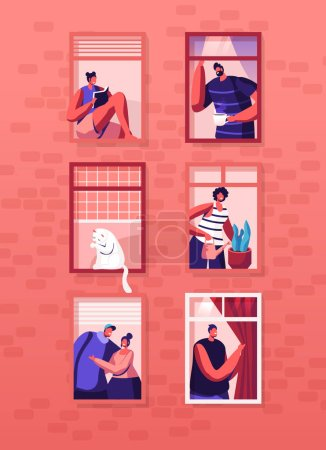 Illustration for Human Life Concept. Outer Wall of House with Different People and Cat at Windows. Happy Men and Women Look Out of Apartments Drink Tea, Hugging, Watering Plant, Read. Cartoon Flat Vector Illustration - Royalty Free Image