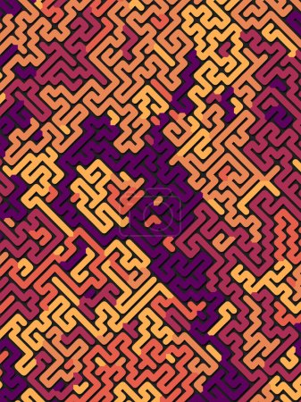 Photo for Abstract pattern. Labyrinth concept. Futuristic composition background of three-dimensional colored shapes. 3D rendering - Royalty Free Image