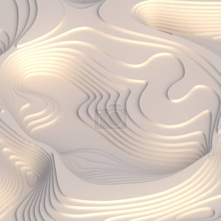Abstract topographic background. White paper cut art design for website template. Topography map concept. 3d rendering