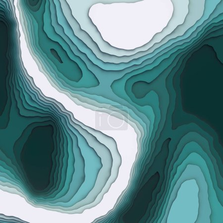 Abstract topographic background. Colored paper cut art design for website template. Topography map concept. 3d rendering