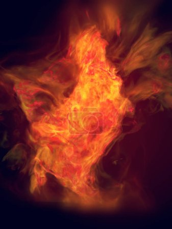 Orange turbulent fire flame isolated on dark background. 3d rendering