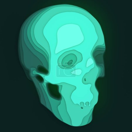 Abstract colored skull. Illustration with paper cut shape. 3d rendering