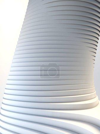 White stripe architectural futuristic pattern background. 3d render illustration