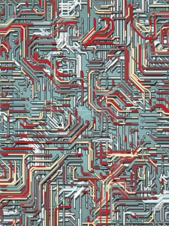 Foto de Digital abstracto líneas de color 3d renderizado de fondo - Imagen libre de derechos