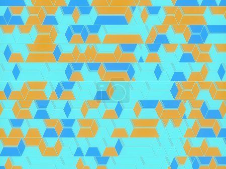 Stylish line art colored flat pattern with blue and orange rectangles. 3d render