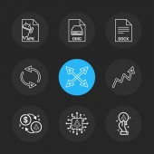 Different minimalistic flat vector app icons on black background
