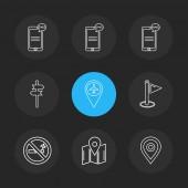 minimalistic flat app icons on black background