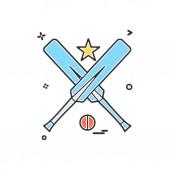 bat ball star cricket icon vector design