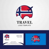 Travel Norway Flag Logo and Visiting Card Design