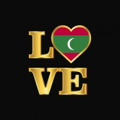Love typography Maldives flag design vector Gold lettering
