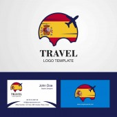 Travel Spain Flag Logo and Visiting Card Design