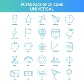 25 Green and Blue Futuro Universal Icon Pack
