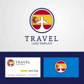 Travel Spain Creative Circle flag Logo and Business card design