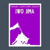 Iwo Jima USA monument landmark brochure Flat style and typography vector