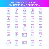 25 Blue and Pink Futuro Smart phone functions Icon Pack