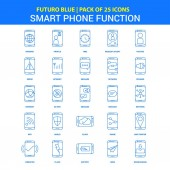 Smart phone functions Icons - Futuro Blue 25 Icon pack