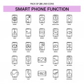 Smart phone functions Line Icon Set - 25 Dashed Outline Style