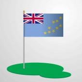 Tuvalu Flag Pole vector illustration