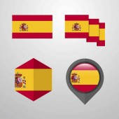 Spain flag design set vector