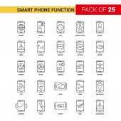 Smart phone functions Black Line Icon - 25 Business Outline Icon Set