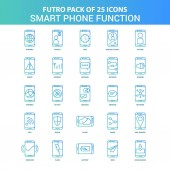 25 Green and Blue Futuro Smart phone functions Icon Pack