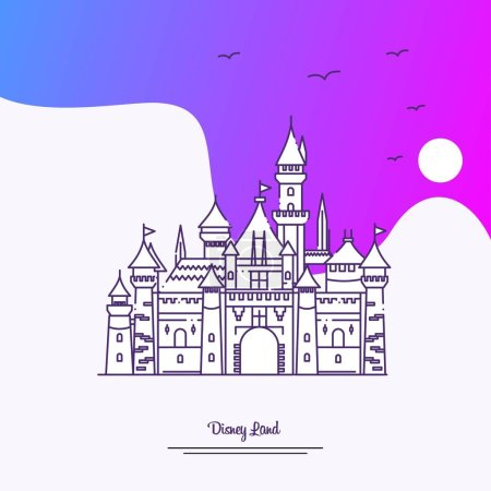 Illustration for Travel DISNEY LAND Poster Template. Purple creative background - Royalty Free Image