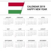 Calendar 2019 Hungary Flag background English language