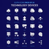 Technology Device White icon over Blue background 25 Icon Pack