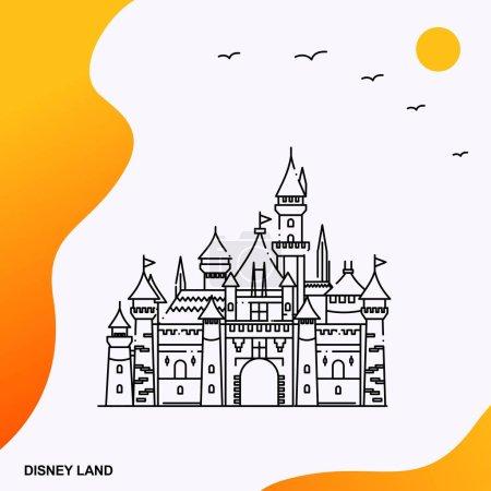 Illustration for Travel DISNEY LAND Poster Template. Vector illustration - Royalty Free Image