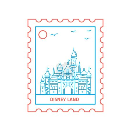 DISNEY LAND postage stamp Blue and red Line Style,...