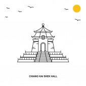 CHIANG KAI SHEK HALL Monument World Travel Natural illustration Background in Line Style