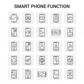 25 Hand Drawn Smart phone functions icon set Gray Background Vector Doodle