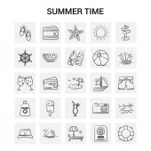25 Hand Drawn Summer Time icon set Gray Background Vector Doodle