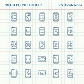 Smart phone functions 25 Doodle Icons Hand Drawn Business Icon set