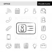 Set of 17 Office hand-drawn icon set