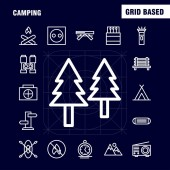 Camping Line Icon Pack For Designers And Developers Icons Of Bench Camping Outdoor Travel Camping Match Outdoor Fire Vector