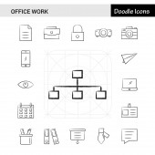 Set of 17 Office work hand-drawn icon set